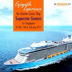 ENJOYABLE EXPERIENCE On Charter Cruise Ship Superstar Gemini Ex-Singapore On 9th, 13th & 16th Aug 2017. We provide an enjoyable experience with DJ performances, yummy Food Festival, cool Rain Dance, Aqua Jumba & Team Building games for Corporate Groups.
