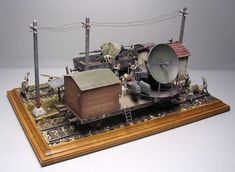 """Würzburg Flakzug"" 1/35 scale. By Andreas Coenen. German gun laying radar. #scale_model #diorama #WW2 https://www.panzer-bau.de/eisenbahnmodelle-1-35/w%C3%BCrzburg-flakzug-final/"