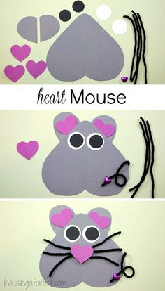 mouse crafts Heart Shaped Mouse ~ Valentines Day Craft for kids. Valentine's Day Crafts For Kids, Valentine Crafts For Kids, Daycare Crafts, Valentines Day Activities, Toddler Crafts, Preschool Crafts, Kids Diy, Preschool Shapes, Craft Kids