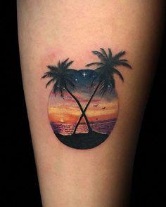 P>Circular beach tattoo Beachy Tattoos, Hawaii Tattoos, Sunset Tattoos, Mini Tattoos, Body Art Tattoos, Sleeve Tattoos, Tattoos For Guys, Tattoos For Women, Tattoo Ink