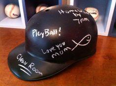 Vintage Upcycled Chalkboard Baseball Helmet for Boys Room. $15.00, via Etsy.