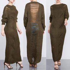 You'll give admirers a sexy surprise when you walk past in this loose fit O-Neck pullover knit dress with its sheer, revealing mesh backside. Loose Fit Ankle-Length Casual Cotton Material Sizes (S – L) Allow 12 - 23 Days For Delivery Distressed Sweater Dress, Long Sweater Dress, Sweater Dress Outfit, Knit Dress, Sweater Dresses, Maxi Dresses, Cropped Sweater, Strapless Dress, Long Sweaters