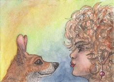 Welsh corgi dog orig ACEO mini painting by Susan Alison ATC woman hypnotism eyes