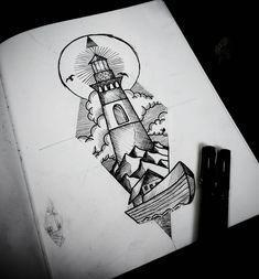 Arte criada por Ricardo Braga de Curitiba. Farol, o mar e o barco.
