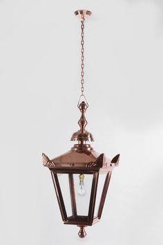 Copper Victorian Style Chain Hanging Lantern Garden Porch Lighting Ebay