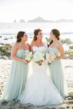 light colored bridesmaids dresses for destination wedding in Cabo San Lucas, Mexico. Beautiful destination wedding ideas for the beach. || Seen on: http://www.jetfeteblog.com/destination-weddings/cabo-san-lucas-wedding-el-arco || Photos: http://www.sararichardsonphoto.com/