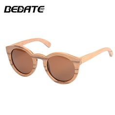 b2f34f344a69 BEDATE Women Wood Sunglasses Polarized High Quality Bamboo Round Frame  Round Frame