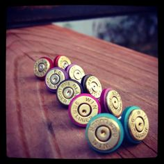 Colorful Bullet Earrings (223 and 9mm)- Turquoise, Pink, Black, Purple, and Red! on Etsy, $11.50