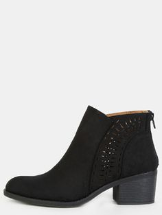 Cut Out Chunky Stacked Heel Boots BLACK