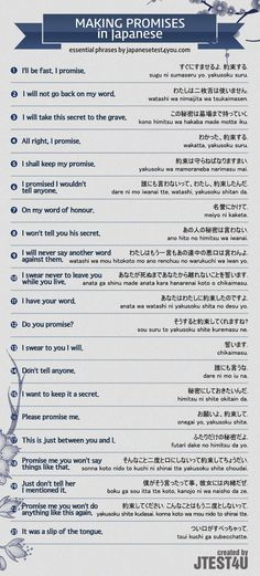 Infographic: how to make promises in Japanese. http://japanesetest4you.com/infographic-make-promises-japanese/ #japaneselanguage