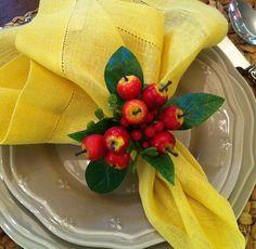 Guardanapo linho amarelo, porta guardanapo de fruta