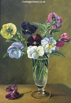 1920s Oil Painting of Pansies. & 1049 Best PAINTINGS FLOWERS IN A VASE images in 2018 | Flower art ...