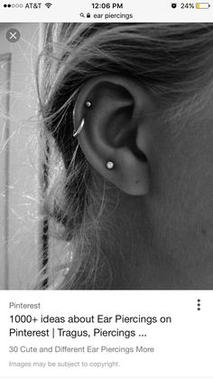 The asymmetry of an odd number of earrings plays up the look's natural edginess. Two cartilage piercings on one ear, one plus tragus on the other. Three piercings on the lobe. Definitely what I want Helix Piercings, Cute Ear Piercings, Peircings, Piercing Tattoo, Double Helix Piercing, Helix Hoop, Helix Ring, Unique Piercings, Cartilage Piercing Stud
