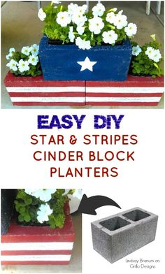 Learn how to make these easy DIY cinder block planters for your back garden this summer. Lindsay Branum shares all her tips and tricks! 4th of July decor