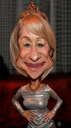 """Helen Mirren"" by Reinu Cartoon"