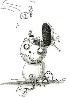 Ilustración de Tim Burton - Chico Robot Tim Burton Sketches, Tim Burton Drawings, Tim Burton Art Style, Tim Burton Artwork, Tim Burton Personajes, Tim Burton Corpse Bride, Creepy Cute, Scary, Robots Drawing
