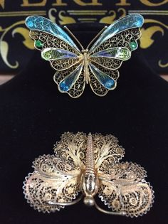 Two Silver Gilded Filigree Butterfly Brooches One Is Enamelled