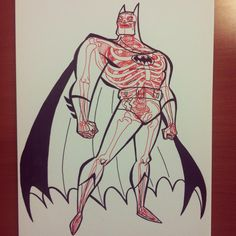 X-Ray Illustrations Showing the Skeletons of Famous Characters: The Batman by Bruce Timm X-ray Comic Book Characters, Comic Character, Game Character, Comic Books Art, Book Art, Character Design, Fictional Characters, Popular Cartoons, Famous Cartoons