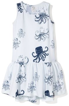 Kukukid White Octopus Dress - from the Ocean's Rebels SS15 range - online at www.alittlebitofcheek.com.au - Yes we ship internationally