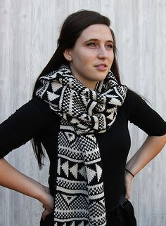 Scandi Scarf  Long black and white scarf by Northernly on Etsy