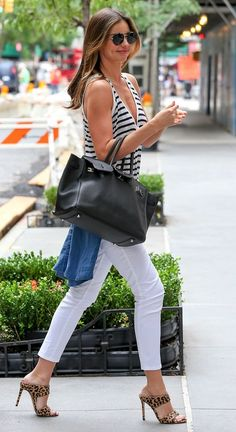 5 of Miranda Kerr's best looks from July // striped tank top, Hermes bag and leopard Miu Miu mules #style #fashion #celebritystyle
