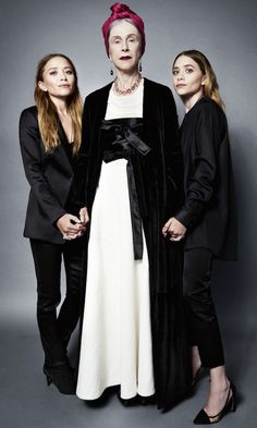 Mary-Kate and Ashley Olsen pose with muse Beatrix Ost for ELLE. #style #fashion #olsentwins