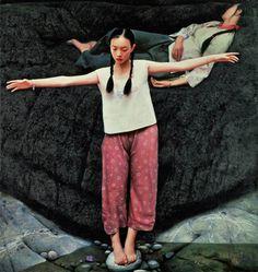 """""""Yi River"""", 1993 oil on canvas, 190 x 185cm Wang Yidong"""