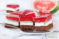 Ciasto szpinakowe z truskawkami - I Love Bake Cheesecake, Sweets, Watermelon, Sheet Cakes, Recipies, Poppy, Gummi Candy, Cheesecakes, Candy