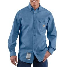 82ef9f9957c5 Carhartt Men s Flame-Resistant Chambray Shirt - - Add style and protection  to your workwear wardrobe with the Carhartt flame-resistant chambray shirt  made ...