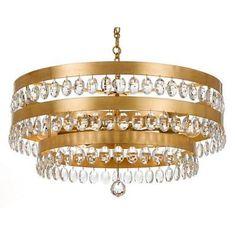 Crystorama 6108-GA Perla 6 Light Antique Gold Chandelier