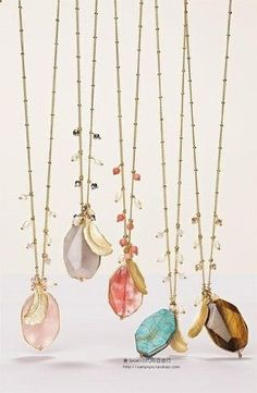 Love these handmade long gold chain necklaces by adding various raw gemstones in…