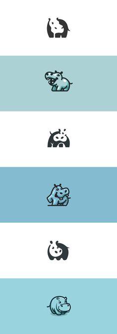 My hippo logo creations #hippo #hippopotamus #cute #negativespace #negative #space #logo #character #mascot #logodesign #design #brand #identity #illustration #flat #vector #kreatank #graphic #design