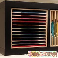 Ikea Expedit Paper Holder Storage - sold at craft stores (insert paper holder into Ikea Expedit bookcases)
