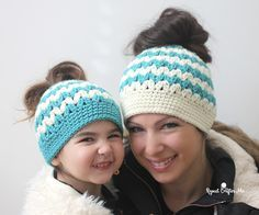 Pony tail hat crochet pattern in adult and child sizes
