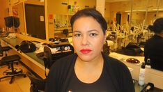 Look # 3 'Dramatic Lip Neutral Eye'  Outlined with red lip liner, filled in and blended with red lipstick. Neutral   eye.