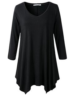 JollieLovin Womens Plus Size 3/4 Sleeve V-neck Flare Hem Loose-fit Tunic Top (M, A BLACK) | Plus size fashion for women -- You can find out more details at the link of the image. (This is an affiliate link) #eatclean