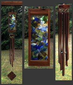Wind Chime, Stained Glass, Beach Glass, Sea Glass, Copper, Suncatcher, Wind Chimes, Windchimes