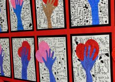 Idea to do for Somebody Loves You Mr Hatch. grade students filled their background with positive/nice words. Then by rubbing the side of different crayons, students gave their co. Hand Art Kids, Hand Kunst, 2nd Grade Art, Second Grade, Valentines Day Activities, Valentines Art Lessons, Valentines Art For Kids, Art And Craft Videos, School Art Projects
