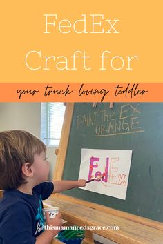 This is a super simple painting craft especially made for toddlers that love trucks! We did this activity as part of our orange week. #FedExCraft #CraftsforBoys #ToddlerCrafts #Orange