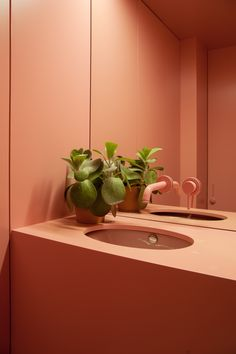 Ideas bathroom colors pink mirror for 2019 Orange Pastel, Two Tone Walls, Best Bathroom Colors, Tiny Powder Rooms, Design Living Room, Interior Minimalista, Pink Mirror, Farmhouse Side Table, Cute Dorm Rooms