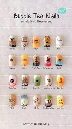 Bubble tea trend start now! Check out these 20 sets of Sabahan's most favourite bubble tea nails. Love these nail art? Cute Nail Art, Cute Acrylic Nails, Cute Nails, Pretty Nails, Gel Nails, Korean Nail Art, Korean Nails, Food Nail Art, Anime Nails