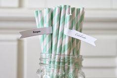 50 Mint Green Paper Straws Retro Vintage by CherishedBlessings Etsy $ 8.50