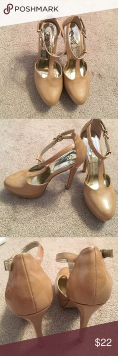 Nude platform T-strap heels Nude Platform T-Strap heels Carlos Santana Shoes Heels