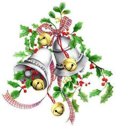 CHRISTMAS BELLS AND HOLLY CLIP ART