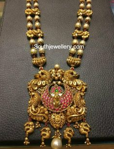 South Sea Pearls Mala with Peacock Pendant - Indian Jewellery Designs Gold Temple Jewellery, Gold Jewellery Design, Antique Jewellery, Silver Jewellery, Bridal Jewelry, Beaded Jewelry, Pearl Jewelry, Pendant Jewelry, Jewelry Sets