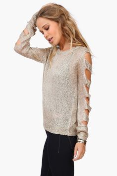 Necessary Clothing so sparkly! great for holiday parties! http://necessaryclothing.hardpin.com/tracker/c.php?m=HardPin&u=type359&cid=1022&url=http://www.necessaryclothing.com/shred-sweater-taupe-l.html?via=HardPin&u=type359