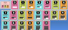 FREE Number posters 0-20 with ten frames!  Lots of cute things for the classroom at this site.