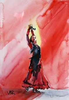 Aquarelle Flamenco à Barcelone | Virginie SCHROEDER Aquarelles Peintures sur Toulouse France