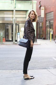anine bing outfit burgundy leather jacket denim chanel bag