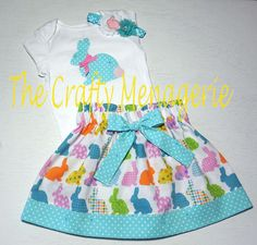 Toddler Girl Easter Skirt Set Easter Bunny by TheCraftyMenagerie, $32.00